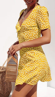 Woman sexy printed V-neck polka dot short sleeve mini dress