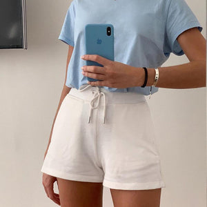 Woman solid high waist straight casual shorts