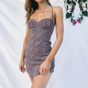 Woman sexy backless floral strap halter mini dress