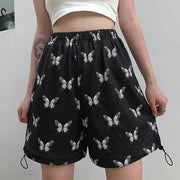 Woman casual butterfly print drawstring loose high waist slimming shorts