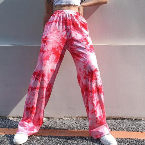 Women wind street shot tie dye printed high waist slim wide leg pants