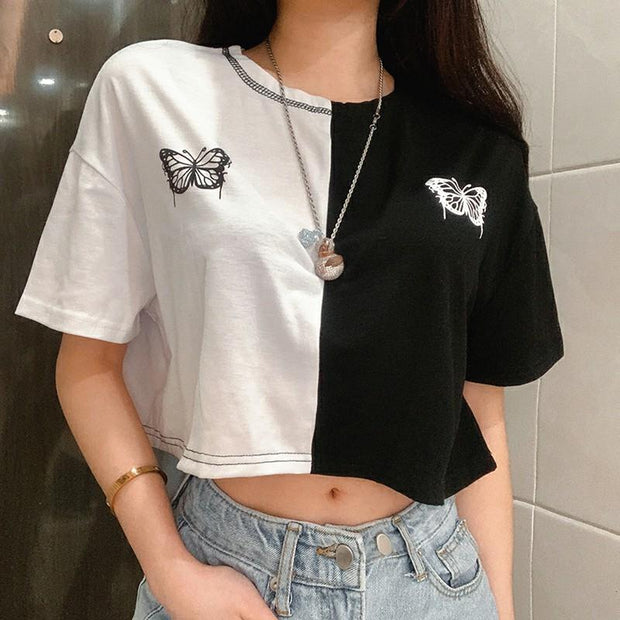 Women's loose-fitting slim contrast butterfly embroidered T-shirt