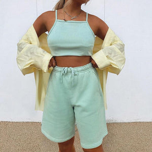 Woman Camisole Neck Cocktail High Waist Loose Shorts Sets