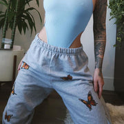 Sexy butterfly print elastic sweatpants