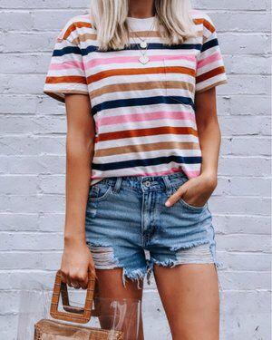 Women'S Round Neck Multicolor Striped Short Sleeves T-shirt