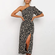 One Shoulder Long Sleeve Floral Print Split Midi Dress