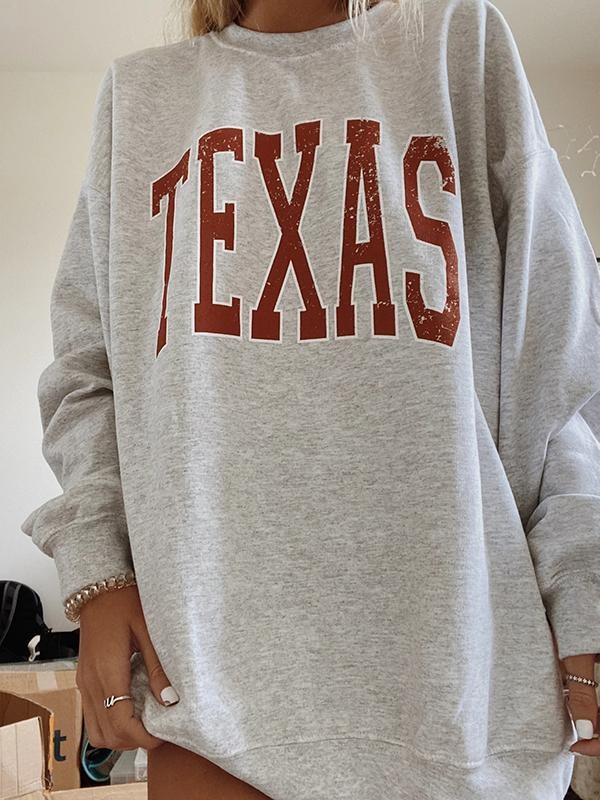 Round Neck Long Sleeve Texas Sweatshirt