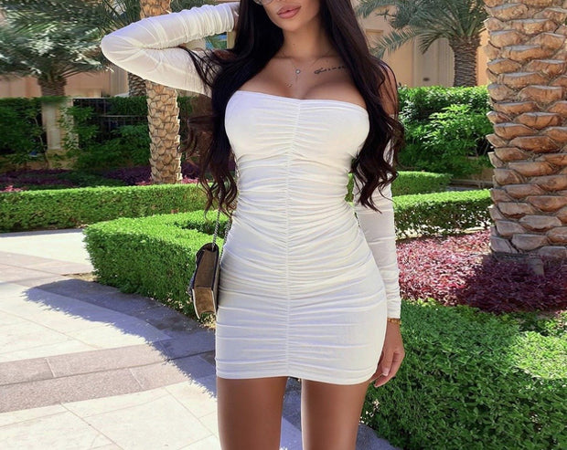 Women One-piece neck pleated bag hip Mini Dress
