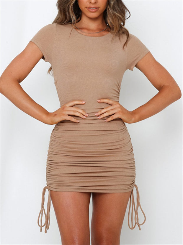 Simple casual round neck short sleeve mini dress