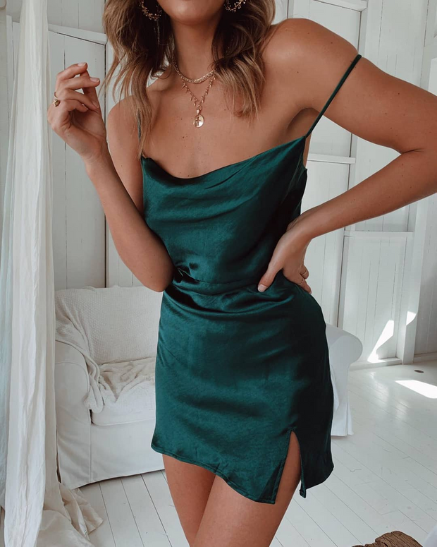 Solid Color Slim Fit Sexy Mini Dress