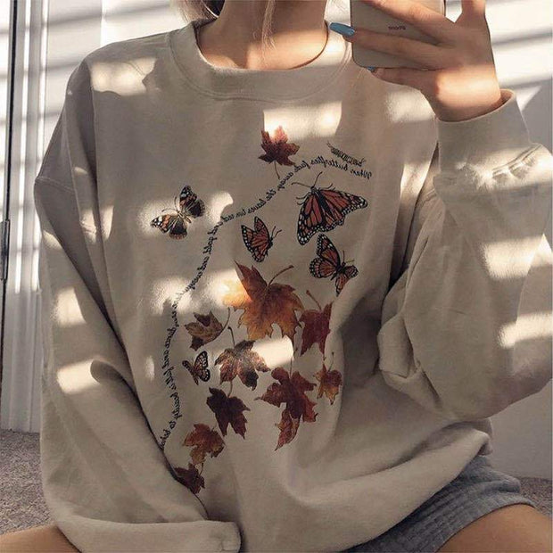 Women's casual loose printed sweatshirts