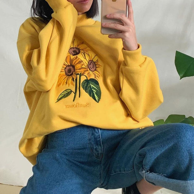 Women's sunflower embroidered casual sweatshirts