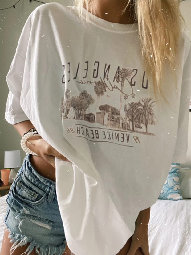 Casual Village Print Short Sleeve T-Shirt