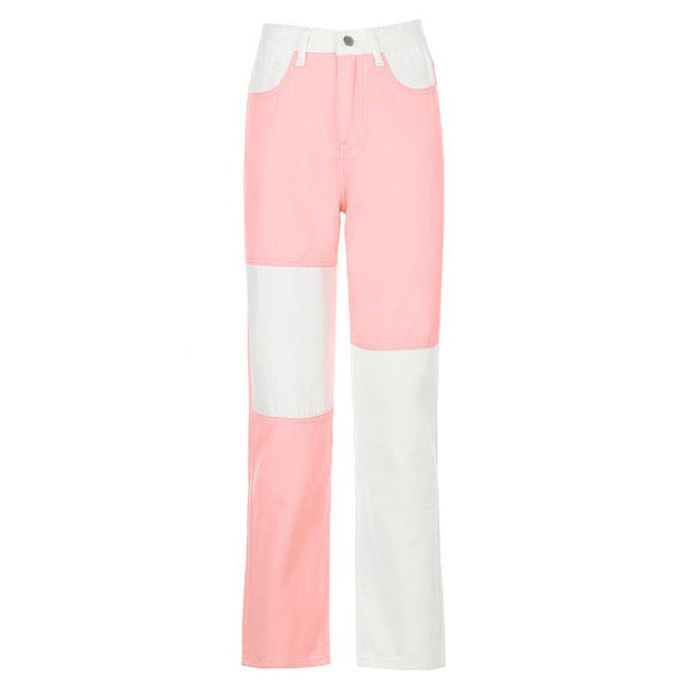 Women'S Fashion Street Hipster Feminine High-Rise Stitching Contrast Straight-Leg Slim Pants