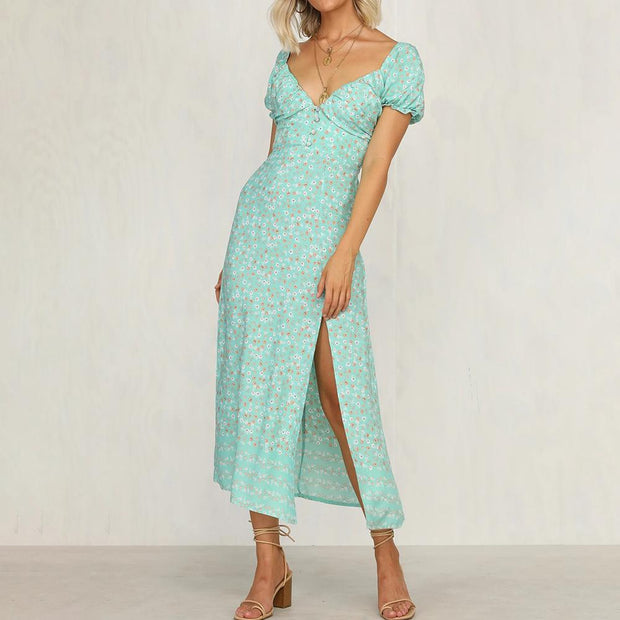 Women sexy V-neck bud print Midi Dress