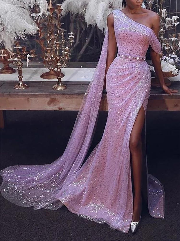 Sexy Solid Color Strapless Slit Dress