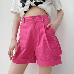 Woman casual loose pink wide leg shorts