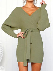 V Neck  Backless  Belt  Plain  Long Sleeve Bodycon Dresses