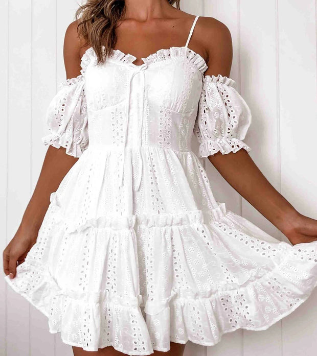 Embroidered cutout lace wrap chest mini dress
