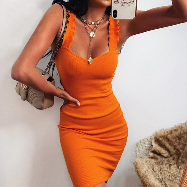Woman fungus ears solid color sexy knitted suspenders mini dress