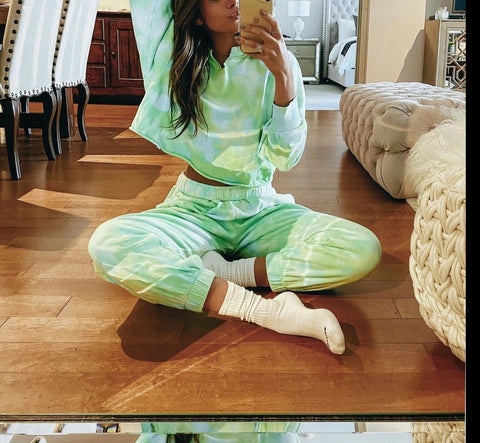 Women Tie Dye home pajamas Sets