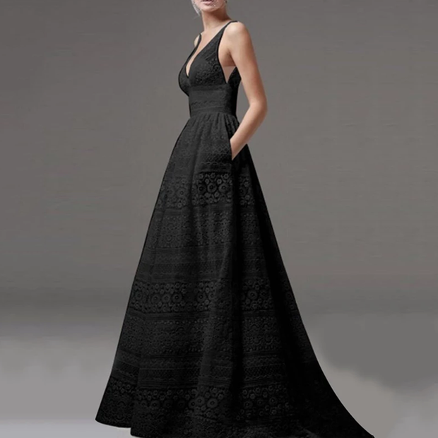 Deep V-Neck Hollow Out Plain Lace Evening Dress