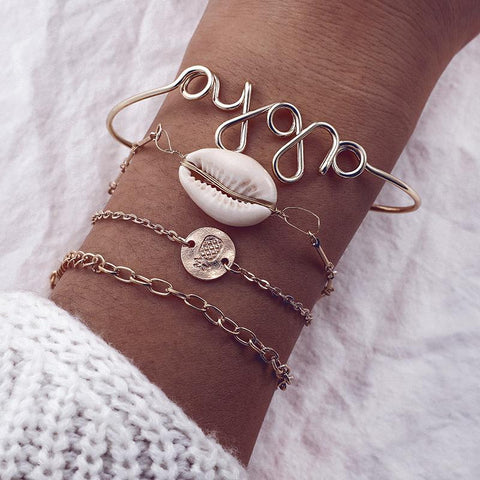 Woman Retro Boho Letters Shell Metal Disc Bracelets