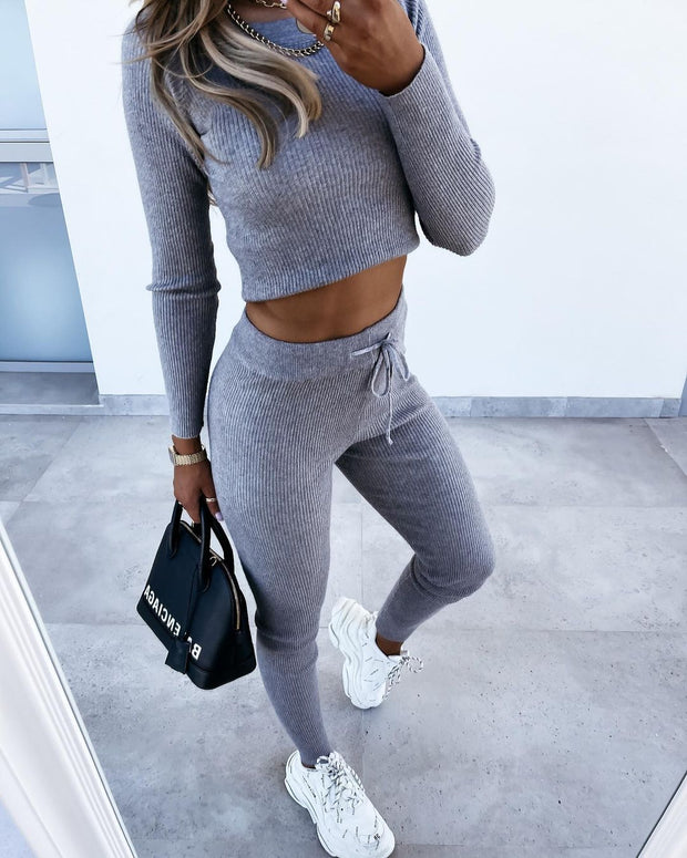 Casual And Comfortable Knitted Two-Piece Suit