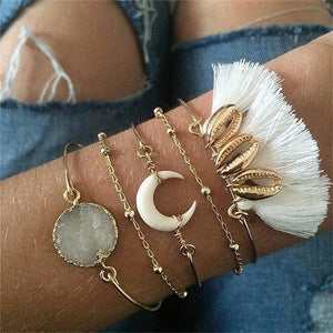 Women Fashion alloy horn shell moon Bracelets