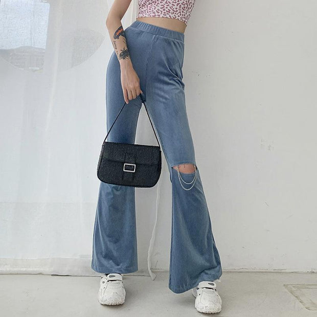 Woman high-waisted slimming hole all-match horn Pants