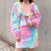 Women's Tie-Dye Hair Plush Halter Sets