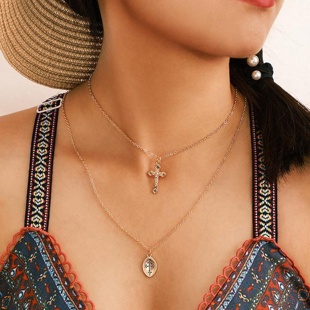 Woman Fashion Simple Cross Multilayer Necklace