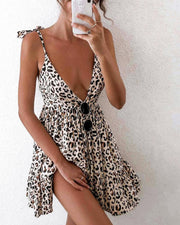 Women Sexy Sling Print Mini Dress