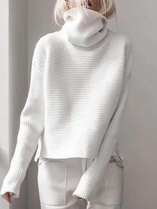 Women'S  Pullover Knitted Turtleneck Sweater Coat Multicolor