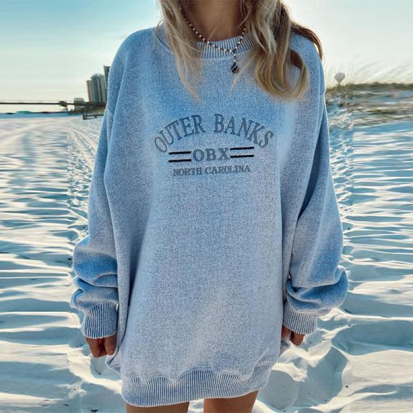 Women round neck long sleeve casual sweatshirt