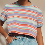 Casual striped crew neck short sleeve T-shirt