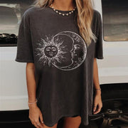 Women Fashion Casual Sun Moon Print Short Sleeve Long T-shirt