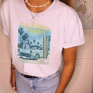 WOMEN'S VINTAGE PRINT SHORT SLEEVE T-SHIRT