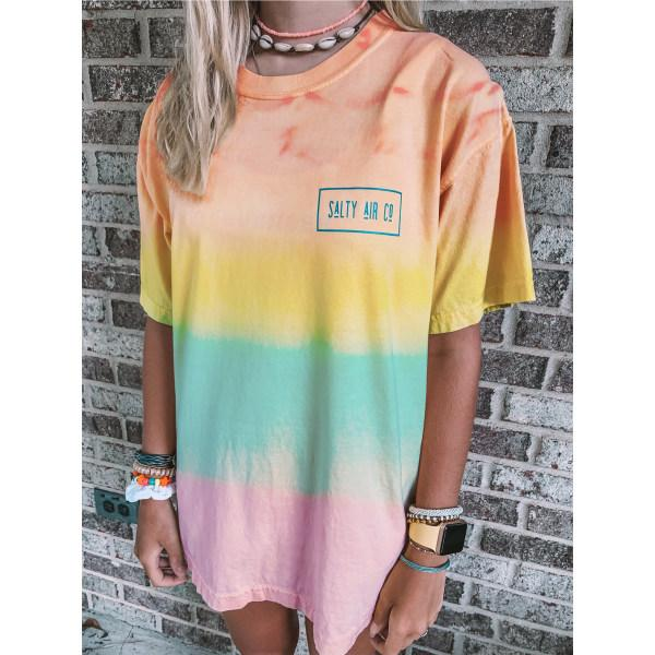 Woman gradient loose printed round neck short sleeve T shirt