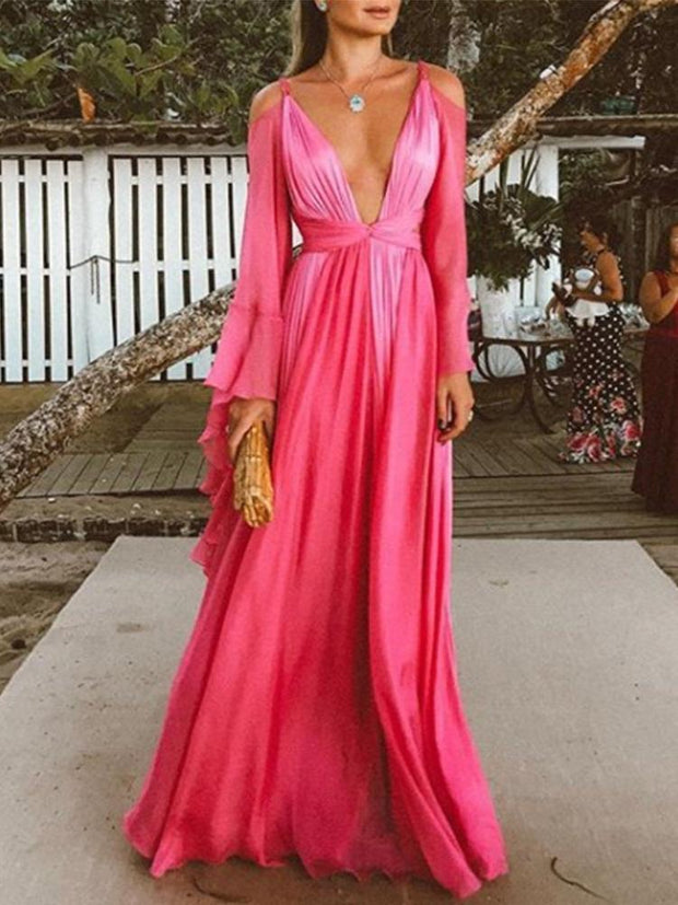 Sexy Deep V Collar Long-Sleeved Long Expansion Vacation Dress
