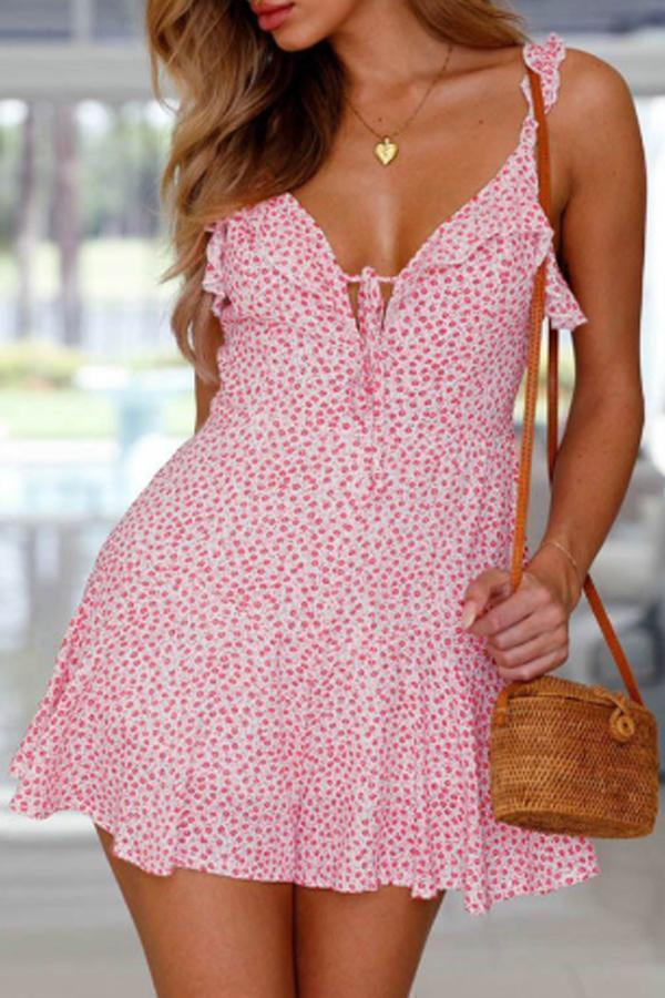 Spaghetti Strap  Backless  Dot  Sleeveless Casual Dresses