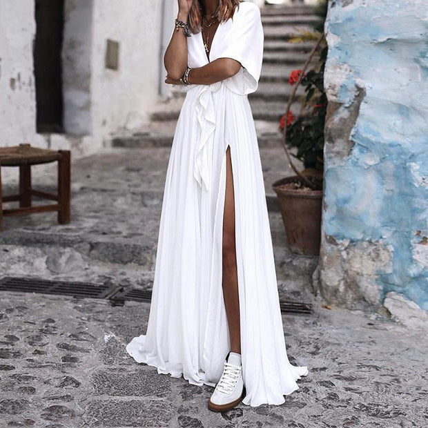 Sexy V-Neck Bow Vacation Maxi Dress