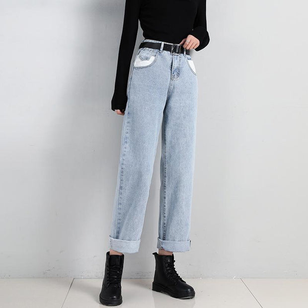 Wide-leg jeans were thin straight pants old pants