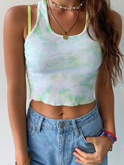 Fashion tie-dye slim U-neck sexy vest
