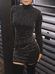 Fashion Sexy Show Thin Sparkling Crystal Mini Bodycon Dress