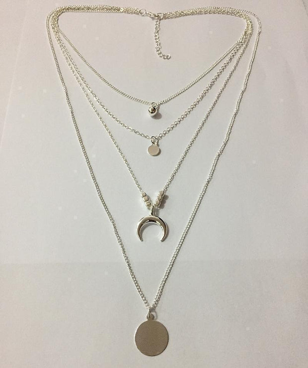 Elegant Mutiple Link Moon Necklace