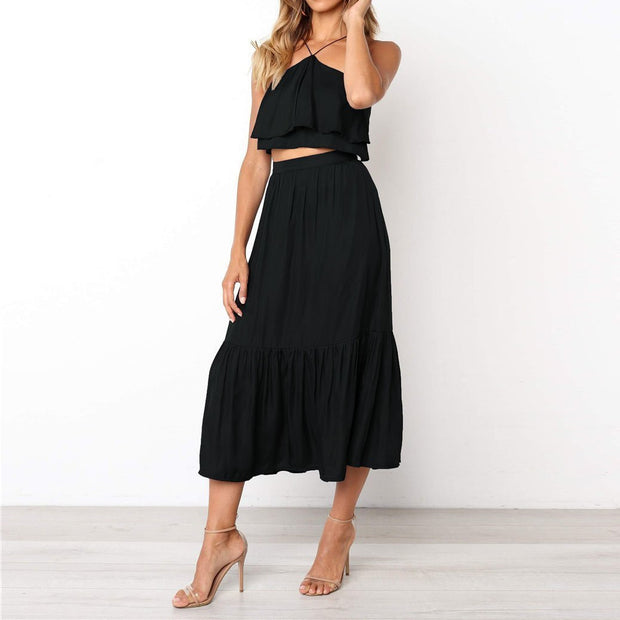 Fashion Strap Wrapped Halter   Women's Two-Piece Dress