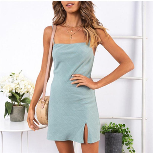 Fashion Solid Color Fork Sexy Shoulder Straps Dress