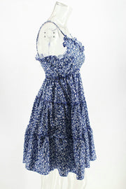 Summer Floral Printed Defined Waist Blue Vacation Dress