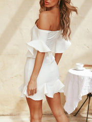 Sexy Word Collar Trumpet Sleeve Dress